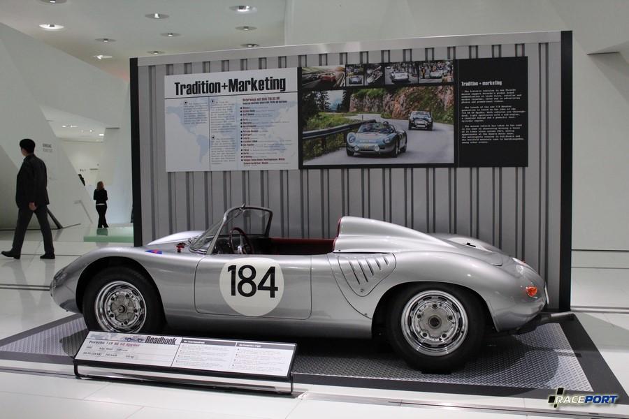 Porsche 718 RS 60 Spyder 1960 г. в. Двигатель оппозитный 4 цил., объем 1587 куб см, мощность 160 л. с., макс. скорость 260 км/ч, вес 550 кг
