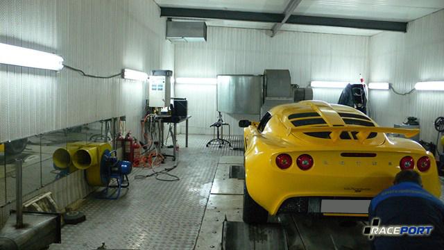 Замер мощности Лотуса на стенде до установки мощностного кита Комо-тек
