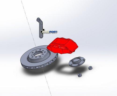 Подготовка к сборке в среде SolidWorks оригинального тормозного диска BMW, суппорт Brembo, макета поворотного кулака БМВ М3 Е36 и требуемого переходника.