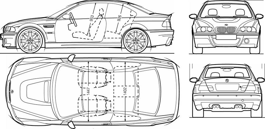 Схематичный чертеж кузова M3 CSL