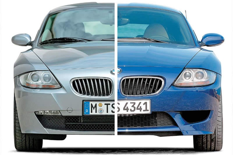 Сравнение фронтального вида BMW Z4 и Z4M