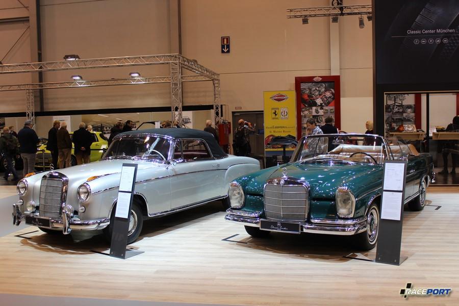 Слева Mercedes-Benz 220 S Ponton (W180 II) 1958 г. в. 106 л.с. 149 900 Euro; справа Mercedes-Benz 300 SE Cabrio (W112) 1967 г. в. 170 л. с. 259 900 Euro