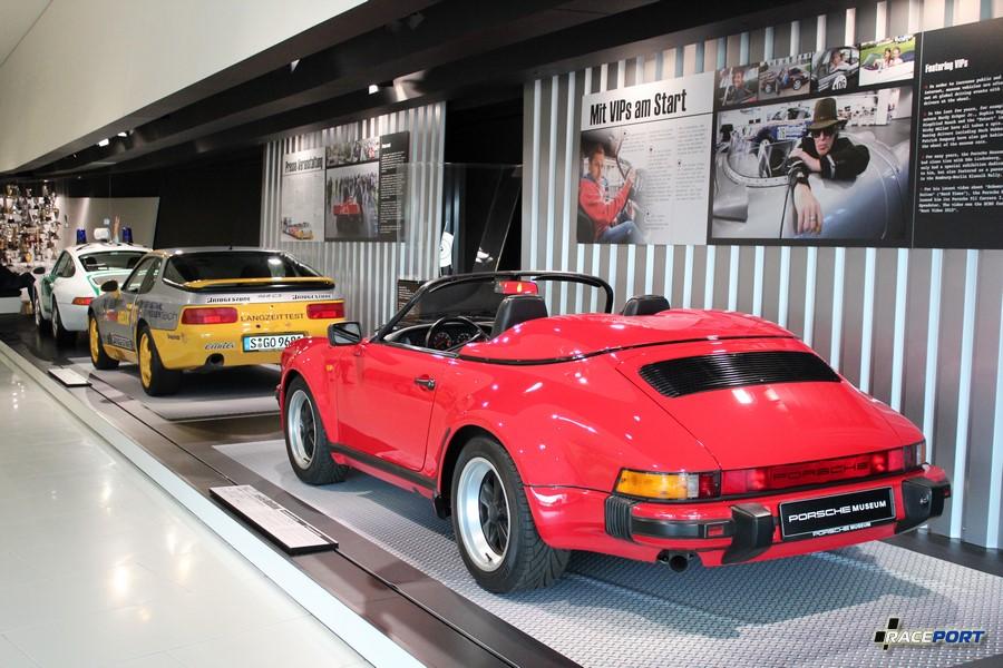 Porsche 911 Carrera 3.2 Speedster 1989 г. в. Двигатель оппозитный 6 цил., объем 3164 куб см, мощность 231 л. с., макс. скорость 245 км/ч, вес 1290 кг