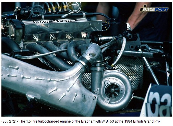 The 1.5 litre turbocharged engine of the Brabham-BMW BT53 at the 1984 British Grand Prix