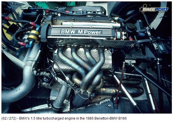 1,5L turbocharged engine in the 1986 Benetton-BMW B186