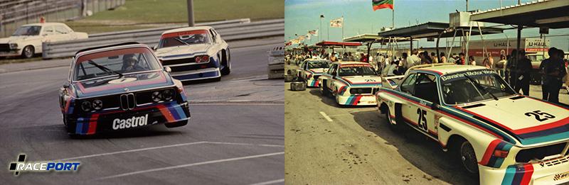 Слева: Символизирующий окрас CSL в 70-е года./ Бэтмобиль возглавляет гонку на заднем плане Ford Capri. Ханс Йохан Штук (H J Stuck) в BMW 3.0 CSL. Справа: ЦСЛ уже на чемпионате Америки.