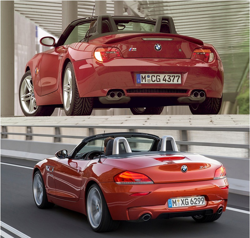 BMW Z4 первого и второго поколения, вид сзади
