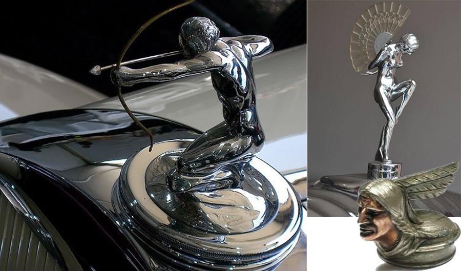 Слева статуйка на Pierce Arrow 2. Справа внизу индеец от Pontiac 1928 г. в.