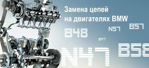 Замена цепи BMW с тыльным расположением. N47, N57, B47, B57, B48 и B58
